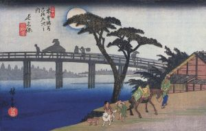 800px-Hiroshige%2C_Man_on_horseback_crossing_a_bridge