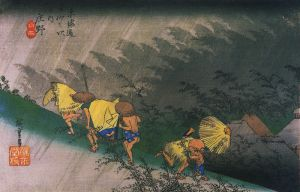 800px-Hiroshige%2C_Travellers_saurprised_by_sudden_rain