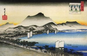 800px-Hiroshige_A_road_beside_a_lake_with_some_boats