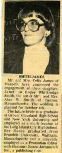 Smith-James engagement annoucement, Queens Ledger