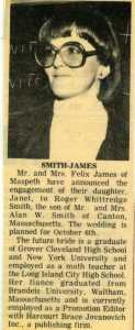 Smith-James engagement annoucement, Queens Ledger