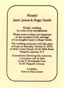 wedding invitation, Janet James and Roger Smith