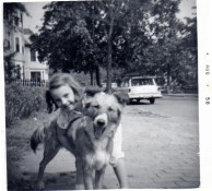 my sister with Missy, Mellen St., Cambridge, MA, August 1958