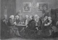 literary party at Sir Joshua Reynolds's; Samuel Johnson seated, second from left