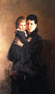 Leo Tolstoy's wife Sofia with daughter Aleksandra; portrait by Nikolay Ge, 1886