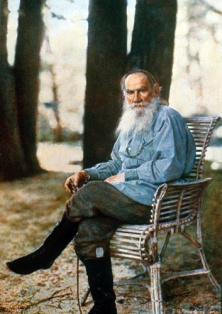 lithograph print of Leo Tolstoy in front of Sergey Prokudin-Gorsky's camera in Yasnaya Polyana, 1908