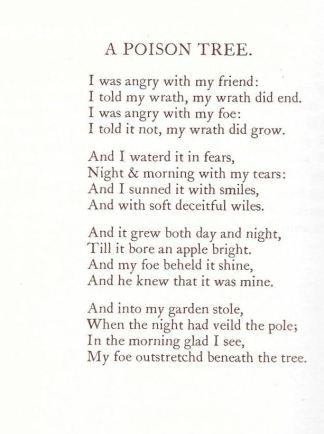 "William Blake, ""A Poison Tree"""