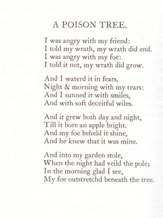 "William Blake, ""A Poison Tree"""