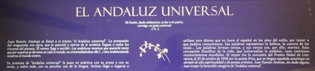 """plaque, """"El Andaluz Universal"""" (The Universal Andalusian) -- Platero y yo was subtitled Elegía andaluza (An Andalusian Elegy)"""