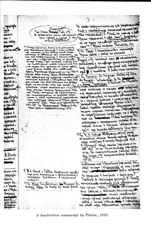 handwritten manuscript by Sorokin, 1923.jpg