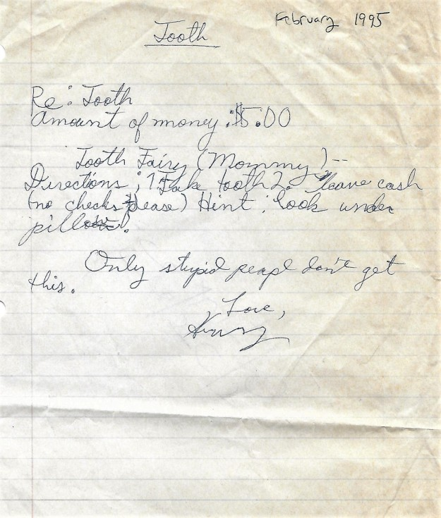 Henry's note to Tooth Fairy, Februar y 1995