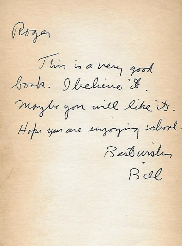 Bill Dalzell's note to Roger